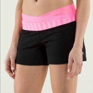 Lululemon Shorts Black and Pink Striped